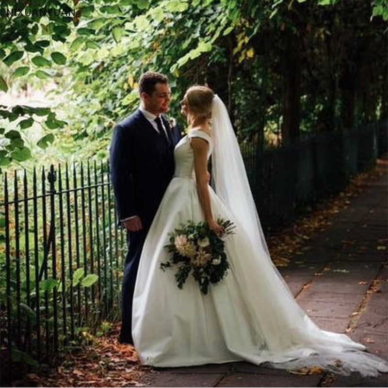 A Line Simple Wedding Dresses: A Line White Ivory Simple Wedding Dresses Sleeveless Satin