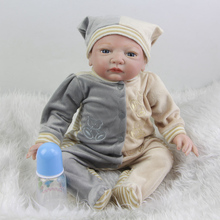 Handmade Blue Eyes Baby Boy Dolls Reborn 20 Inch Lifelike Newborn Silicone Babies Doll Toy With Fashion Romper Kids Playmate
