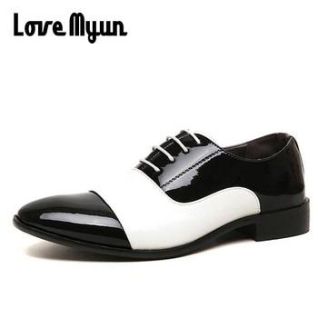 4c43b1a5 Zapatos de vestir para hombre más baratos zapatos de cuero de charol para hombre  zapatos blancos de negocios de boda zapatos de moda para hombre AB -44
