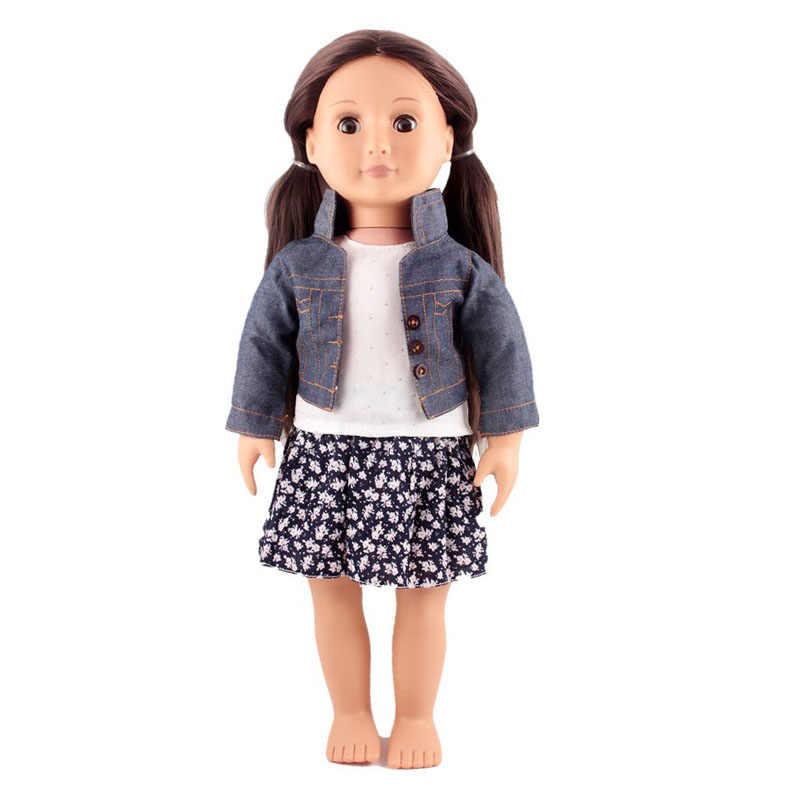 בגדי בובות 45cm ילדה בובת 3IN1 בובת תלבושות ג 'ינס מעיל לבן אפוד חולצה אופנה חצאית Fit 18 אינץ אמריקאי בובות