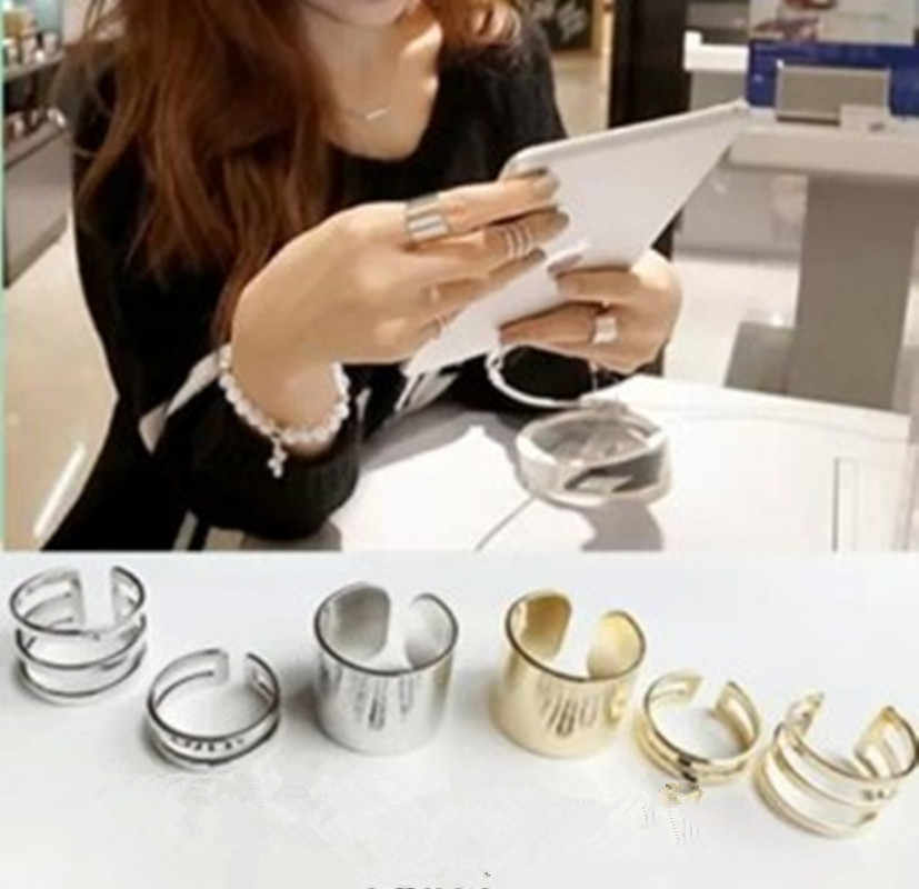 3Pcs / Set 2018 Fashion Top Of Finger Over The Midi Tip Finger Above The Knuckle Open Ring For women Fashion Jewelry wholesale