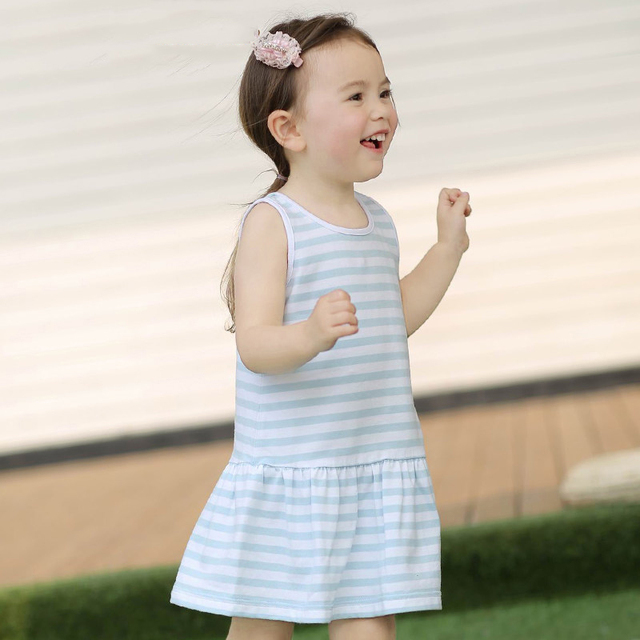 2016 Summer Baby Girls Birthday Party Dress Toddler Baby Cotton Frock Design Striped Pink Blue Dress 1 2 3Years Old Kids Clothes