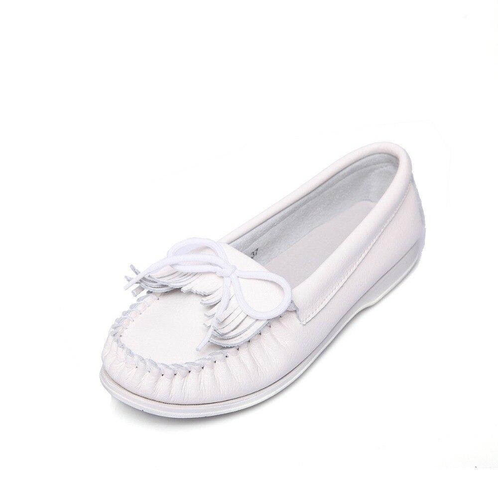 Blanc Femmes Femme Élégant En Automne Pour Ngouxm Appartements Chaussures Cuir De Split Glissement Frange Sur Mocassins Printemps 0znqRaEw