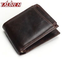 Hot 2018 Vintage Casual Men   Wallets   Crazy Horse Genuine Leather Cowhide Men Short Bifold Multi-Function Card Holder   Wallet   Purse