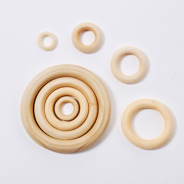 5pcs 40mm/45mm/50mm/55 Wooden Baby Teething Rings Infant Teether Toy DIY Accessories For 3-12 Month Infants Tooth Care Products 3