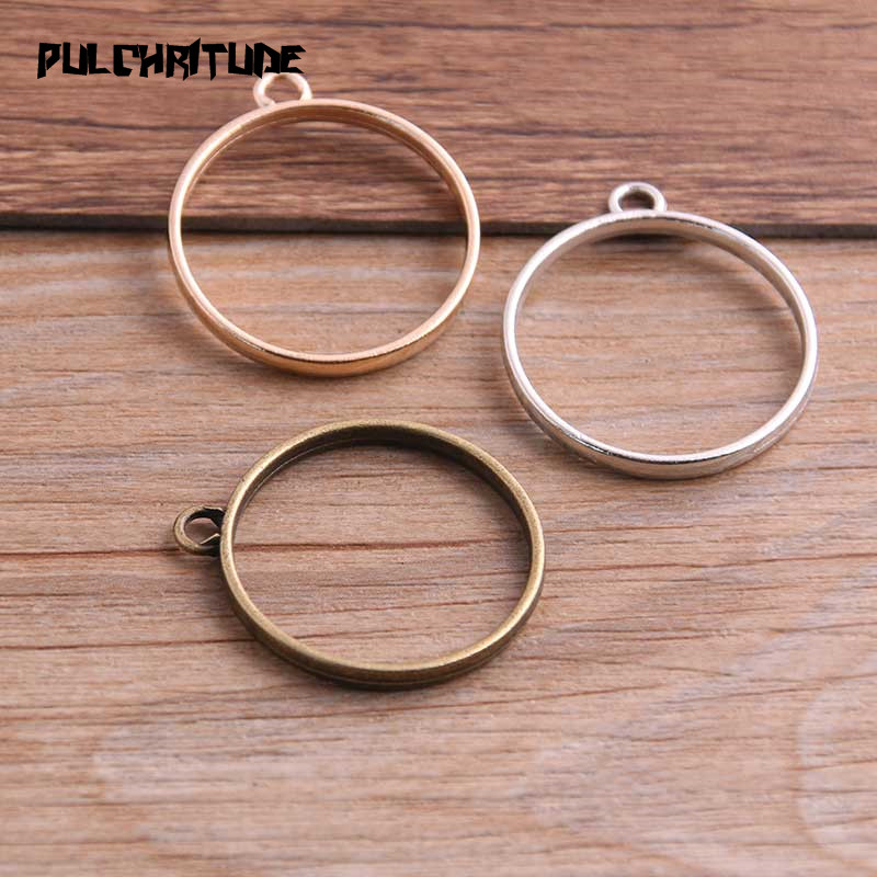 PULCHRITUDE 10pcs 28*32mm Three Color Alloy Jewelry Accessories Circular Charm Hollow Glue Blank Pendant Tray Bezel 12C38