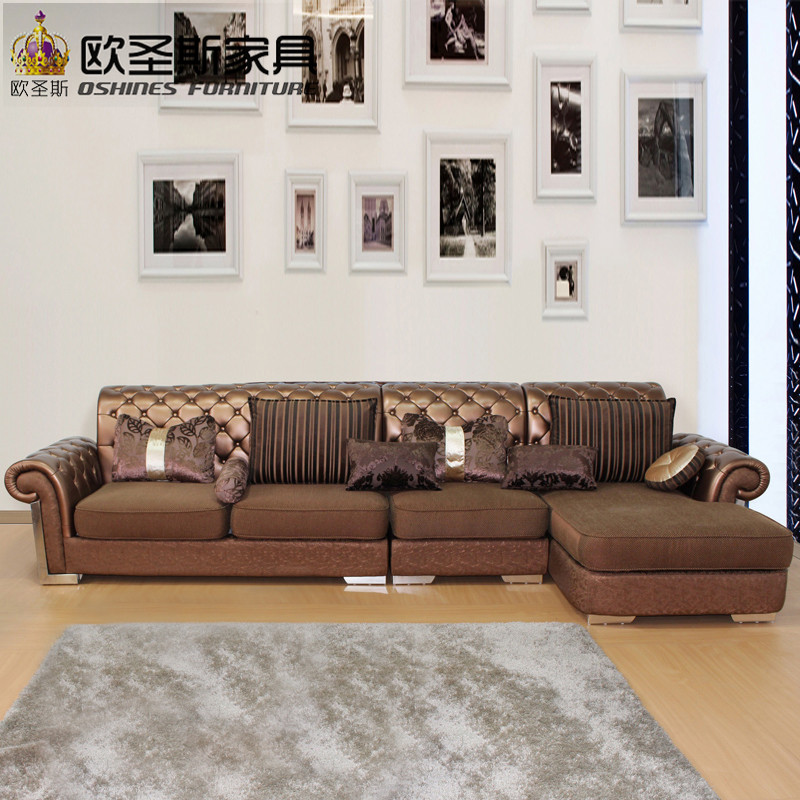 L Shaped Post Modern Italy Genuine Real Leather Sectional ...