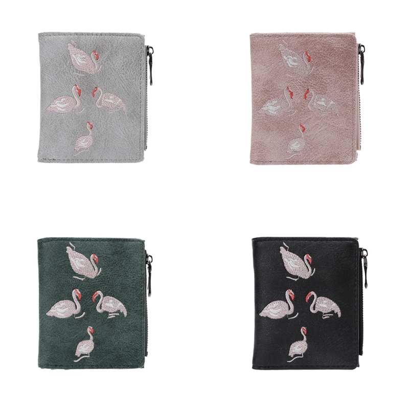 THINKTHENDO New Cute Women Girls Short Wallet Flamingo Coin Purse Pocket Small Credit Card Holder Faux leather Student Wallet thinkthendo 3 color retro women lady purse zipper small wallet coin key holder case pouch bag new design