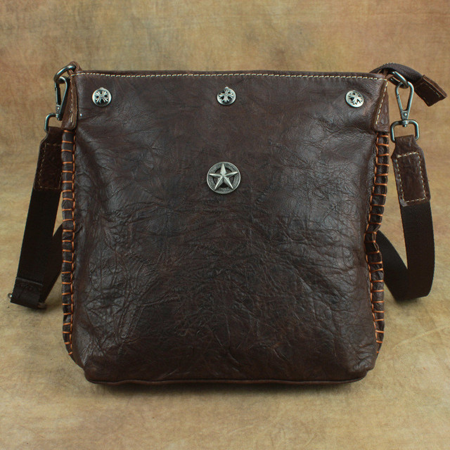adef82b98c Nesitu Brown Coffee Vintage Soft Genuine Leather Sheepskin Cross Body Small  Men Messenger Bags Real Skin
