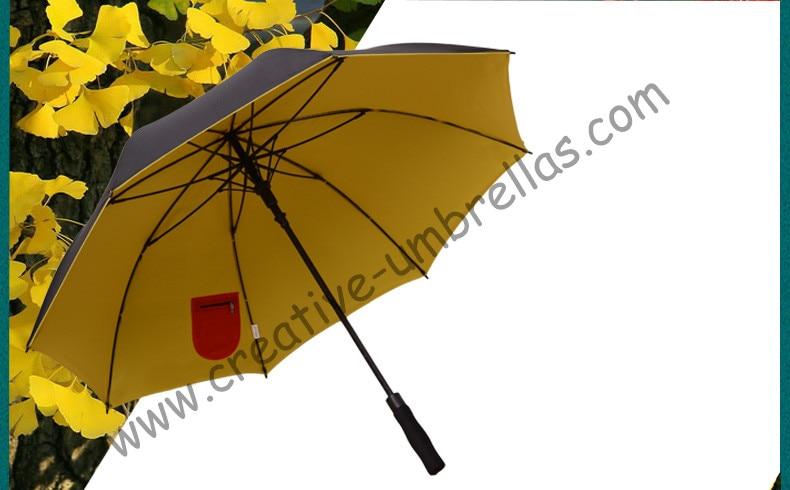 (2pcs/lots)210T pongeee visible double layers fabric golf umbrellas.anti-thuder fiberglass,auto open,inner pocket inside panel