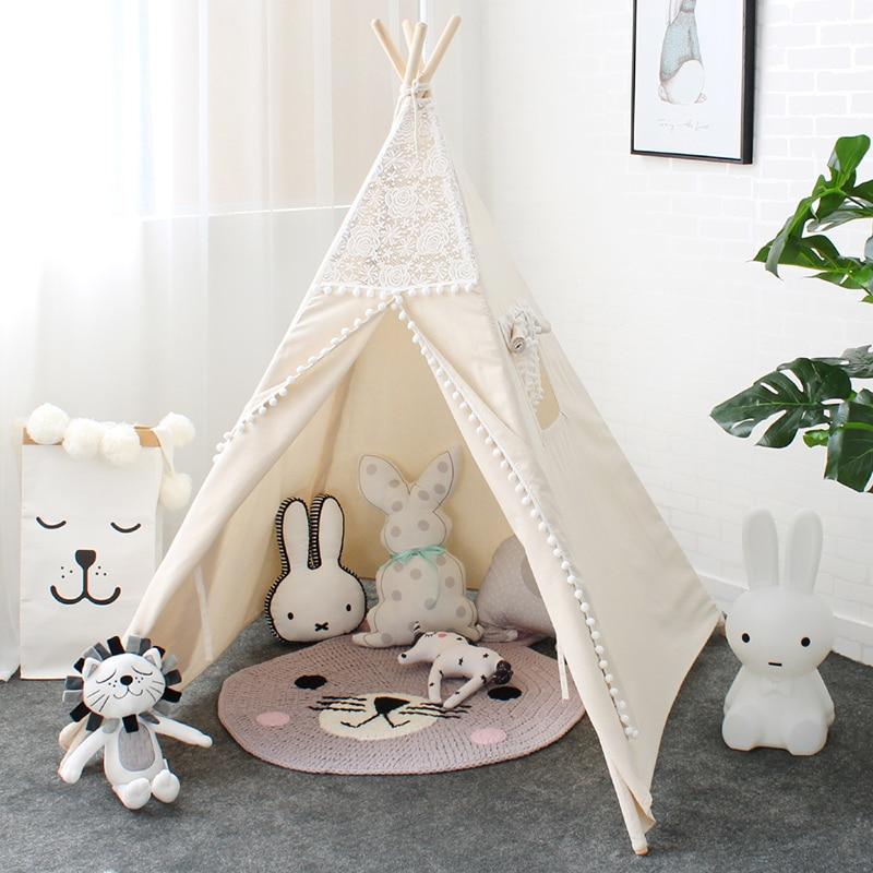 LM1318 кружева типи палатка для детей индийский хлопок teepees для детей театр складной шатер игры для чтения уголок для для девочек