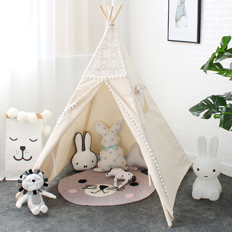 LM1318 Lace Tipi Tent For Kids Indian Cotton Teepees For Children Playhouse Foldable Play Tent For Baby Reading Corner For Girls 1pcs children tent natural indian pattern unisex children toy tent cloth teepees safety portable indoor camping game playhouse