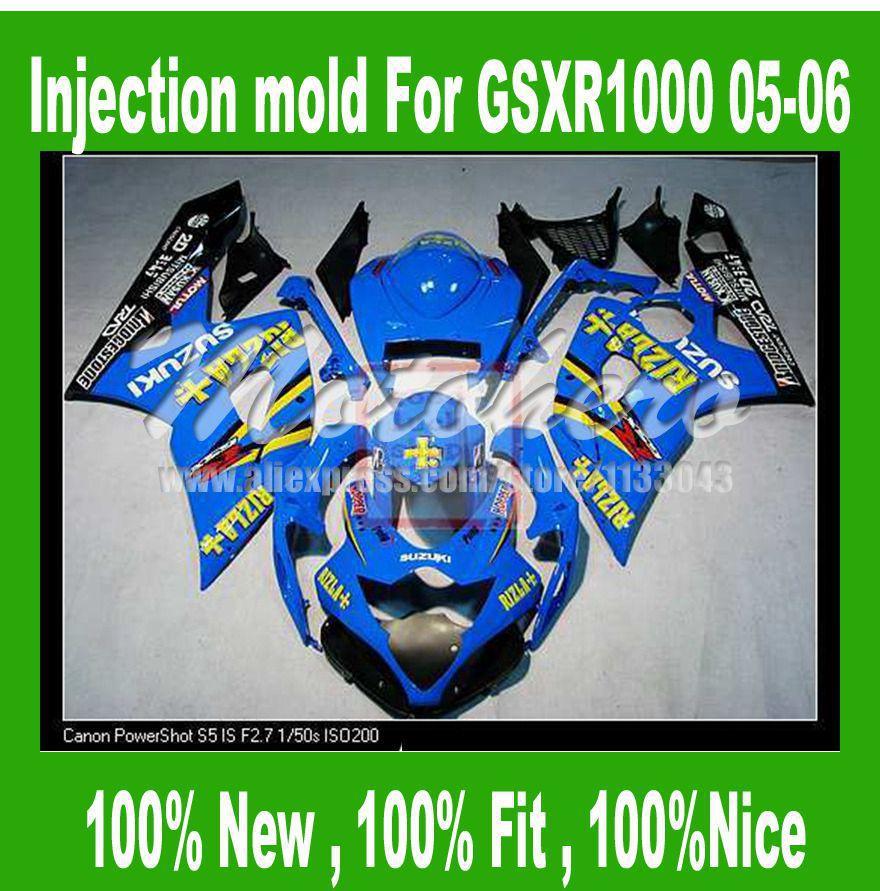 injection mold Light Bluefor K5 SUZUKI GSXR 1000 2005 2006 GSX-R1000 GSXR1000 K5 05 06 motorcycle fairing kits S34678 custom road fairing kits for suzuki glossy flat black 2006 gsxr 1000 k5 2005 gsx r1000 06 05 motorcycle fairings kit