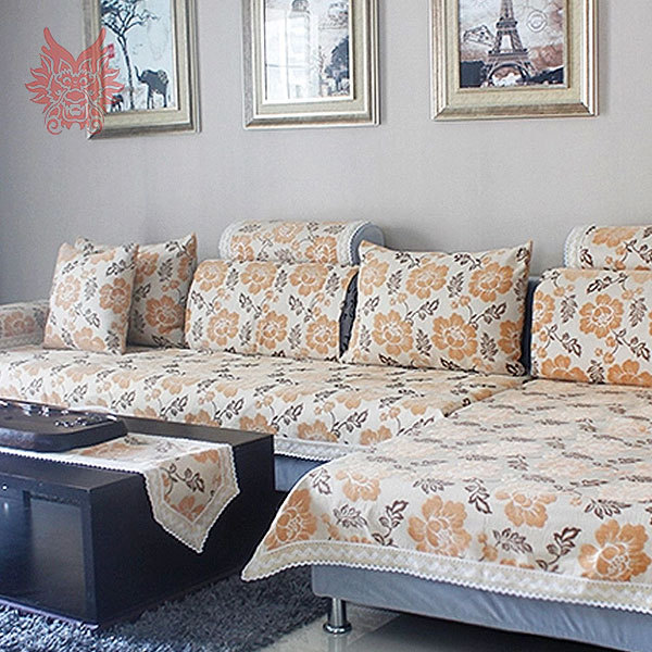 European Style Floral Sofa Cover Polycotton Chenille Flocked Slipcovers  With Lace Patchwork Canape For