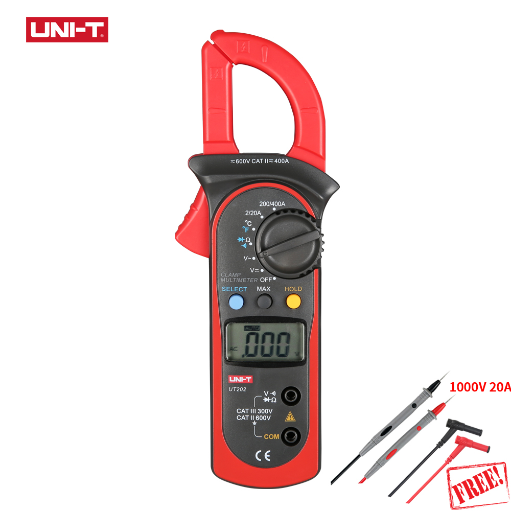 UNI-T UT202 LCD Digital Clamp Meter AC/DC Voltage Resistance Current Detector Multimeter Pinza Amperimetrica Diagnostic Tools high quality original uni t ut109 ac dc current resistance diode tester digital clamp meter ut109 new diagnostic tools ut109