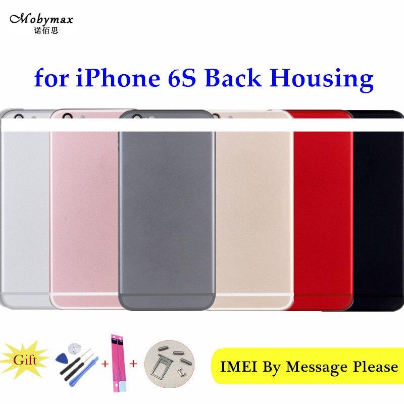 Rojo chasis para iPhone 6 S Cubierta trasera A1688 A1633 batería Fundas Coque negro + botones y bandeja Sim + Sticker + herramienta + IMEI de encargo