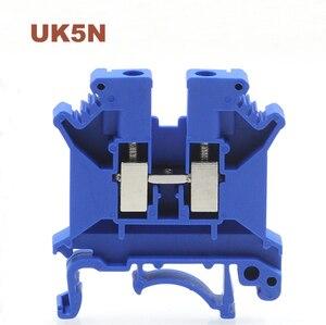 20/50/100 шт din-рейка Универсальные клеммные блоки UK-5N синий винт провода электрические клеммы блок разъем UK5N morsettiera 800V