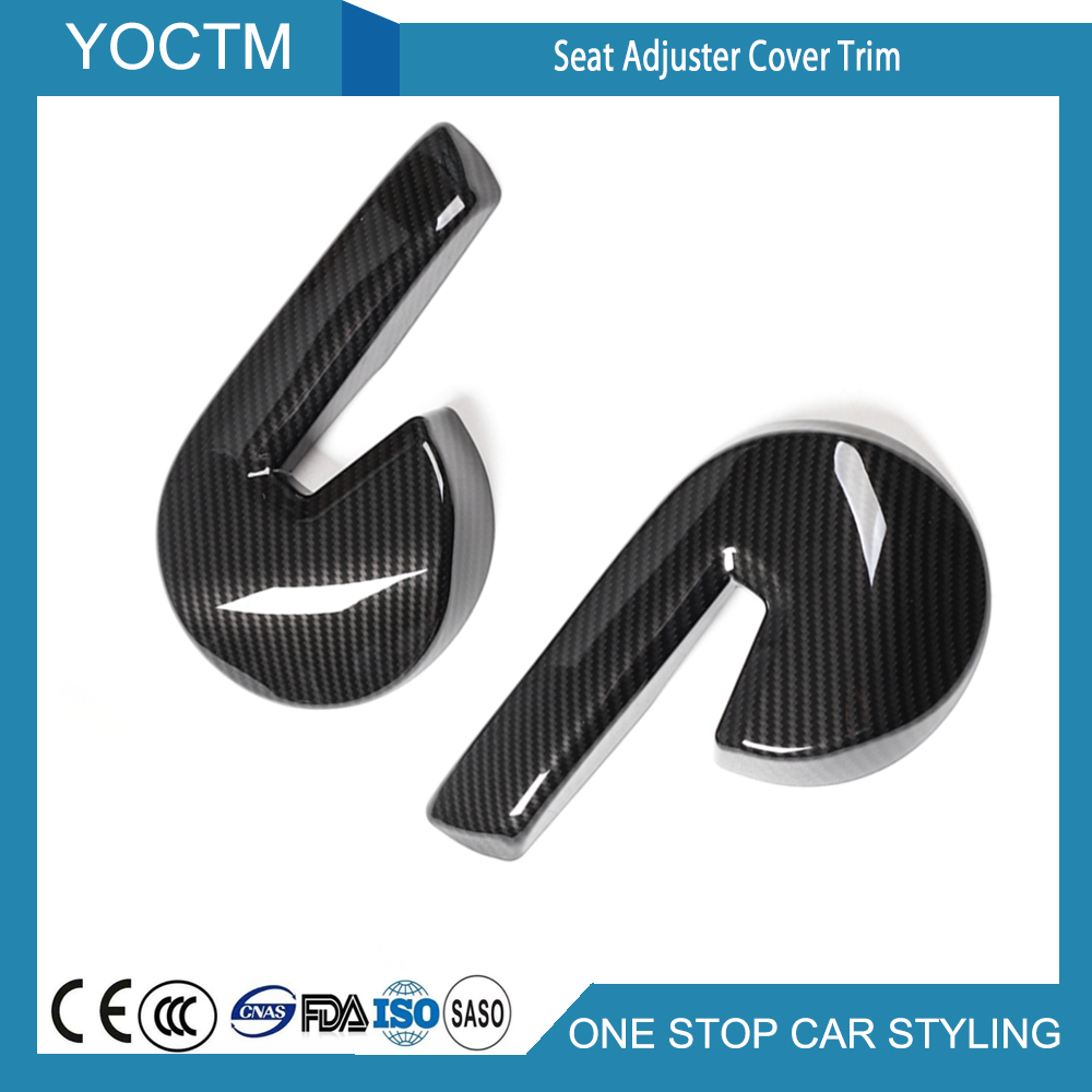 Car Seat Adjust Button Switch Cover Trim Ring Carbon Fiber For Ford Mustang 2015 2016 2017