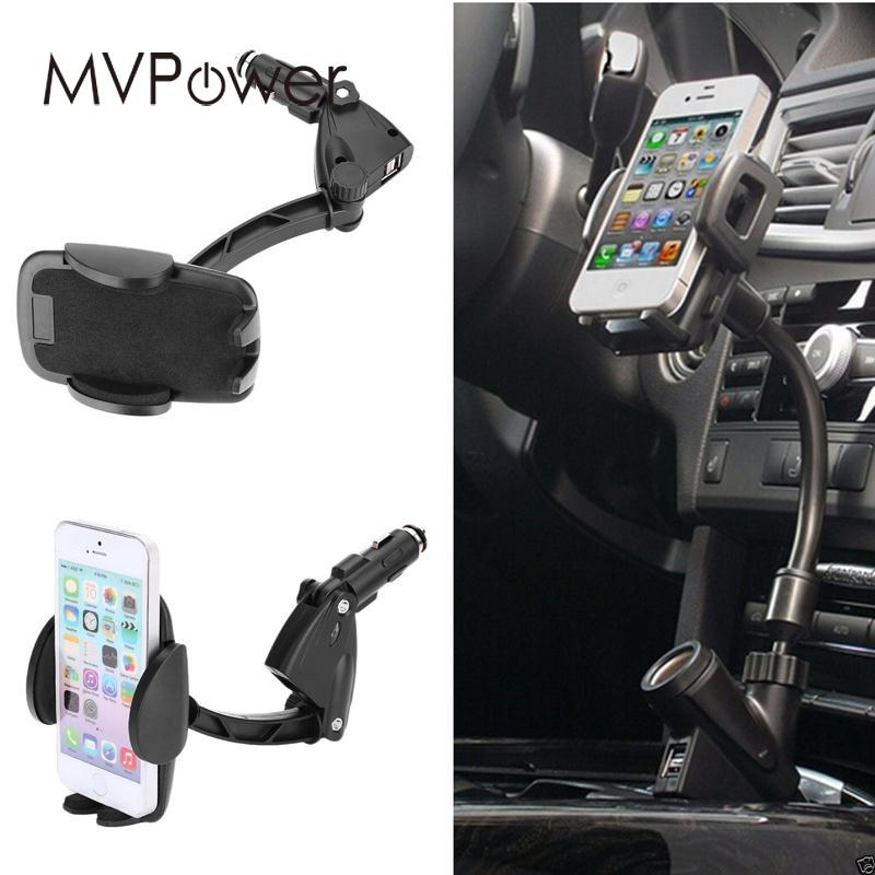 MVpower Car Auto Dual USB Battery Charger Lighter Mount Cellphone Holder Stand Professional Outdoor Travelling Power Supply Gift