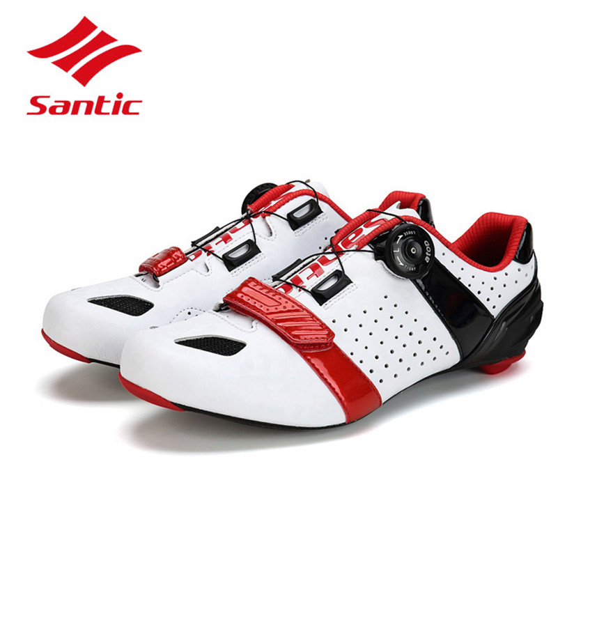 все цены на Santic Cycling Shoes Road Men 2018 Carbon Fiber Racing Bike Road Shoes Self-Locking Athletic Bicycle Shoes Sapatilha Ciclismo онлайн