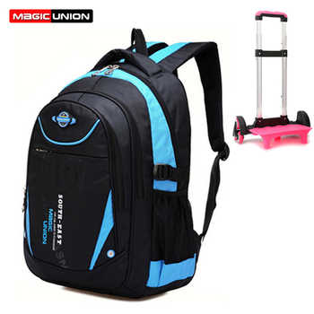 MAGIC UNION Removable Children Trolley School Bags 3 Wheels For Girls Boys Trolley Backpack Primary School Wheeled Backpacks - DISCOUNT ITEM  50% OFF All Category