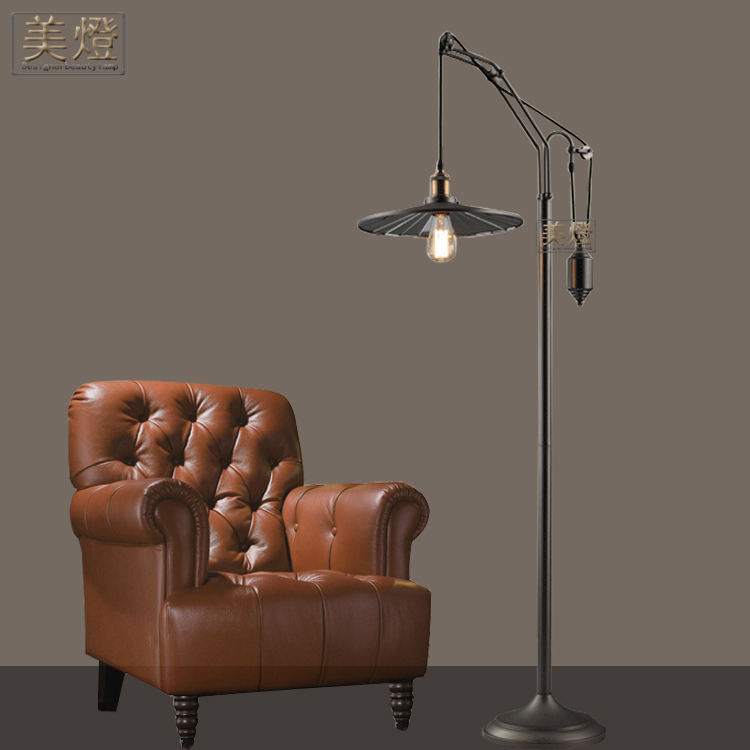 Retro Industrial Style Floor Lamp Bedroom Bedside Office Personality  Continental Iron Pulley Lift Gun Black Lamps In Floor Lamps From Lights U0026  Lighting On ...