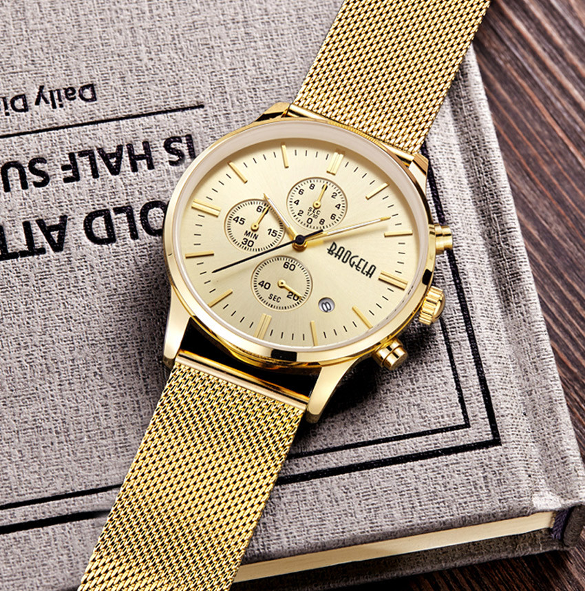 Men's Chronograph Stainless Steel Mesh Band Watch