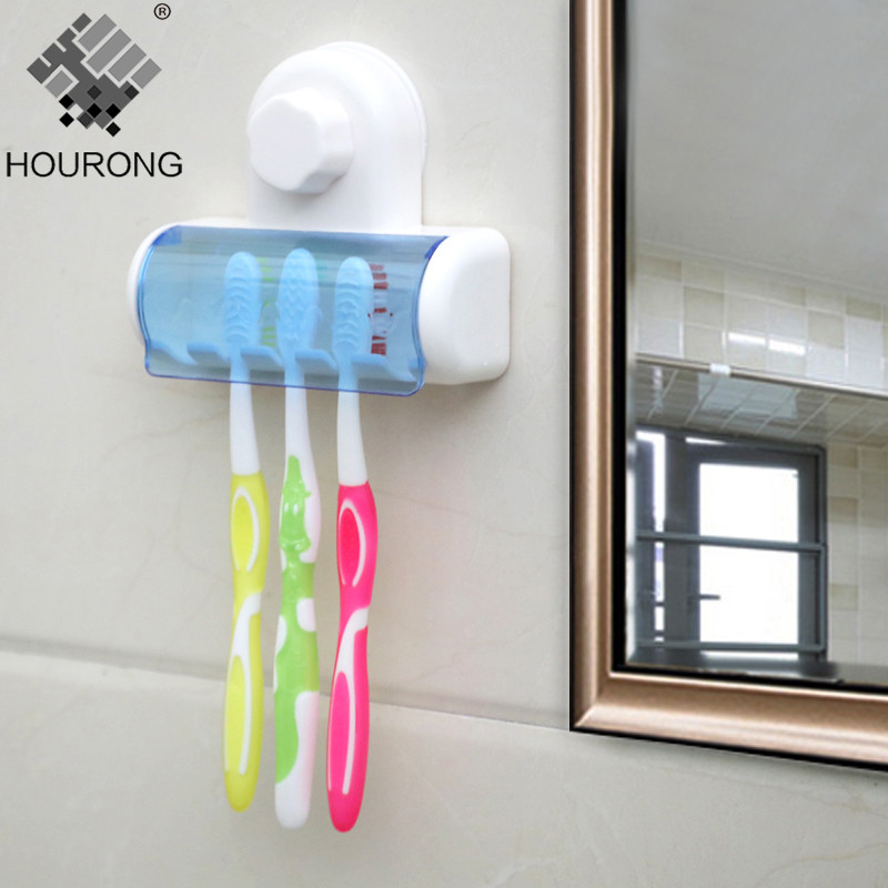 1pc 5 Rack Toothbrush Holder Dust-proof Toothbrush Holder Toothbrush Strong Sucker Bathroom Accessories