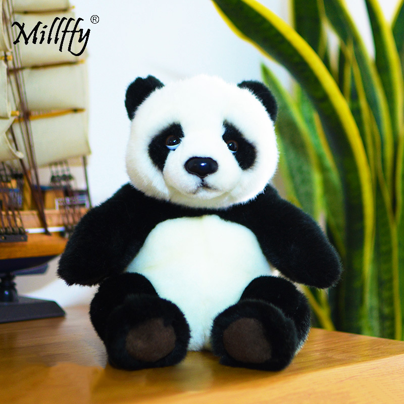 Dropshipping Millffy 21cm Realistic Toy Plush Asian Panda Bear Lifelike Soft Toys Panda Plushie Doll Peluche Mascot For Kids