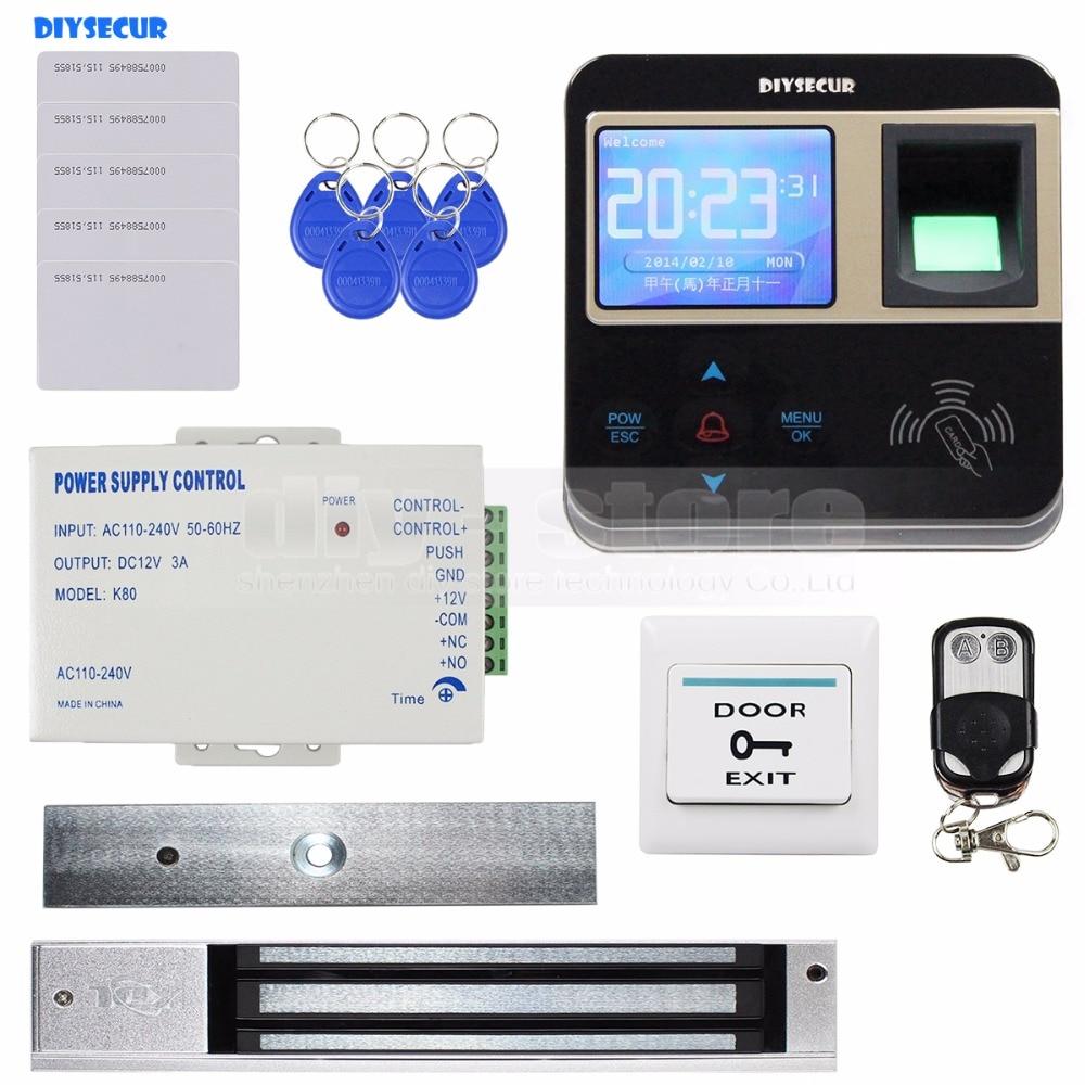 DIYSECUR Fingerprint ID Card Reader 125KHz Door Access Control System + 280kg Magnetic Lock Kit