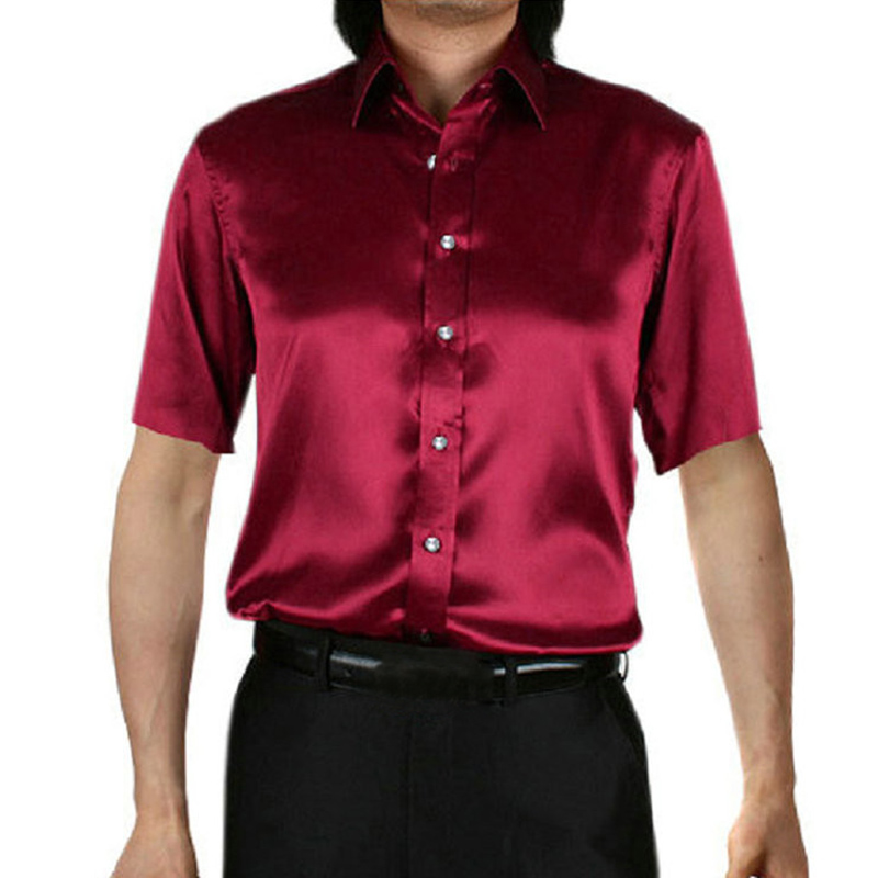 Summer Smooth Silk Social Shirts Men Tuxedo Dress Shirts Turn-Down Collar Short Sleeve Slim Fit Button Down Masculina Camisa
