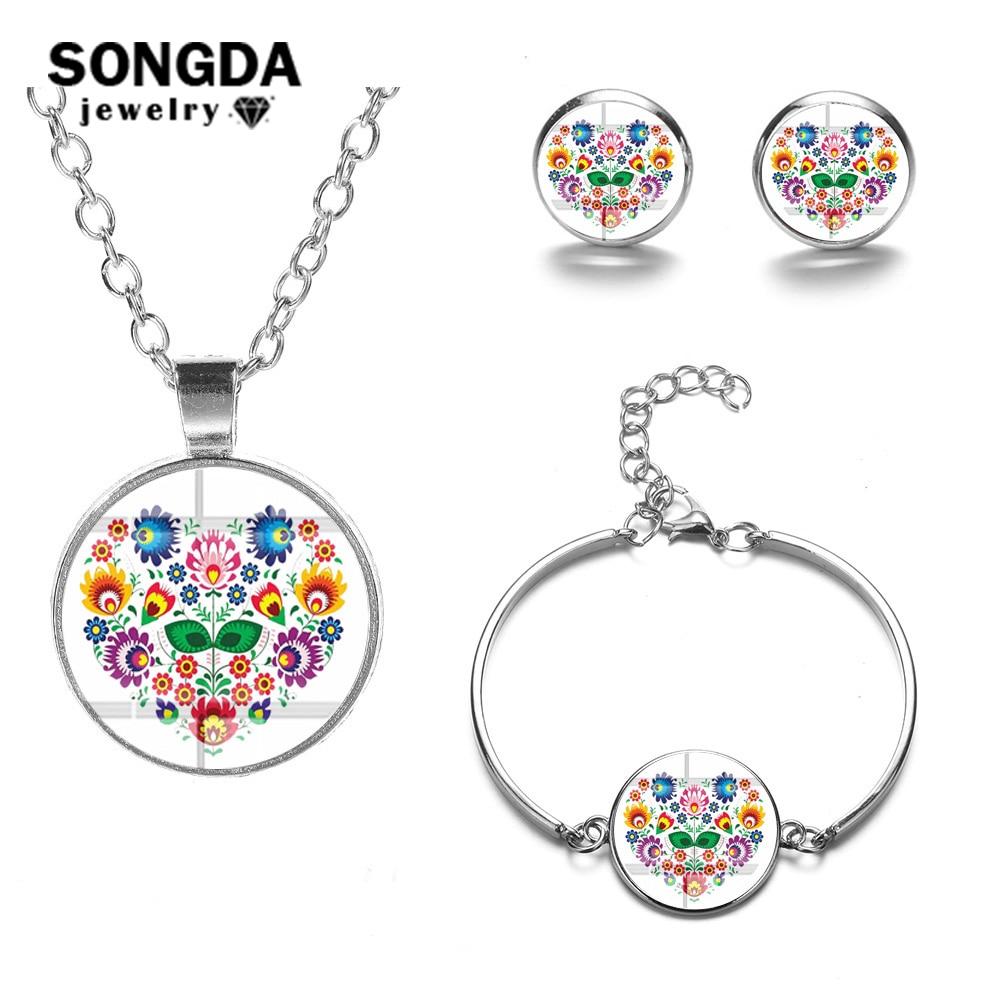 SONGDA 2019 New Bohemia Jewelry Sets Polish Folk Art Pattern Handmade Glass Cabochon Necklace Earrings Bracelet Set Bijoux Femme