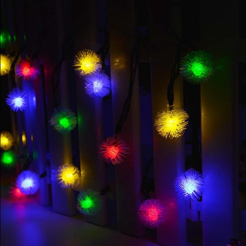 LMID Solar Light Fairy Snowball Snowflake Garland String Light Waterproof Outdoor Decoration Christmas Garden Solar Lamp