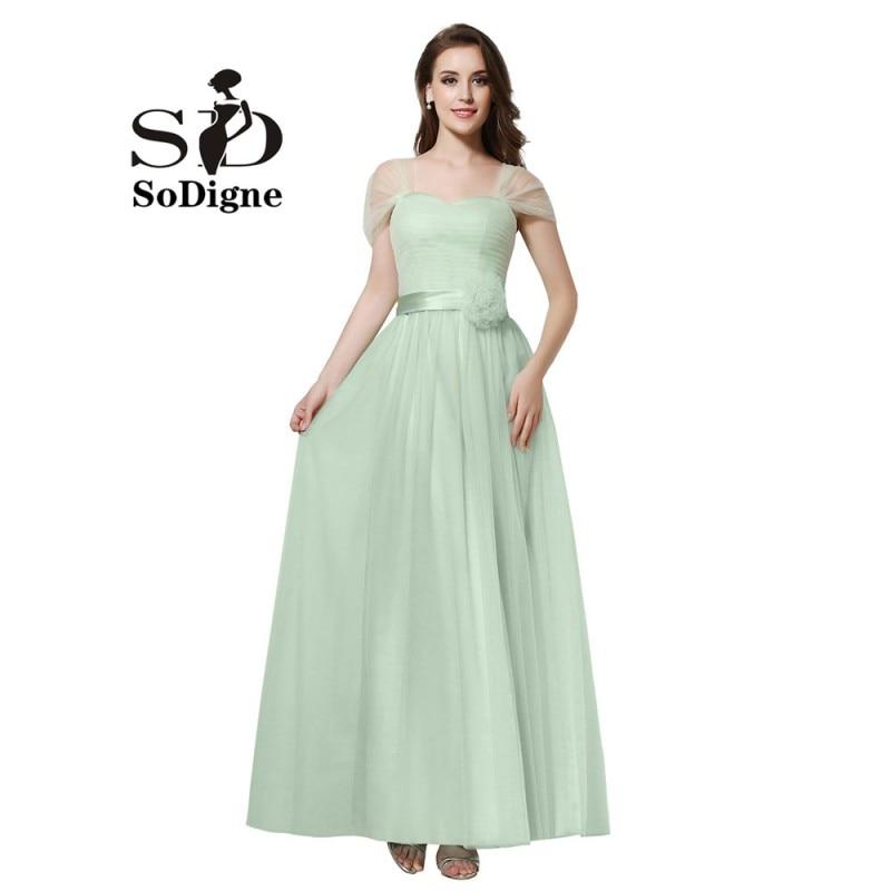 Плаття випускного вечора 2018 SoDigne Vestidos De Baile Капелюхи рукава мереживо М'ята зелене плаття для партії прості вечірні сукні квіти тюль