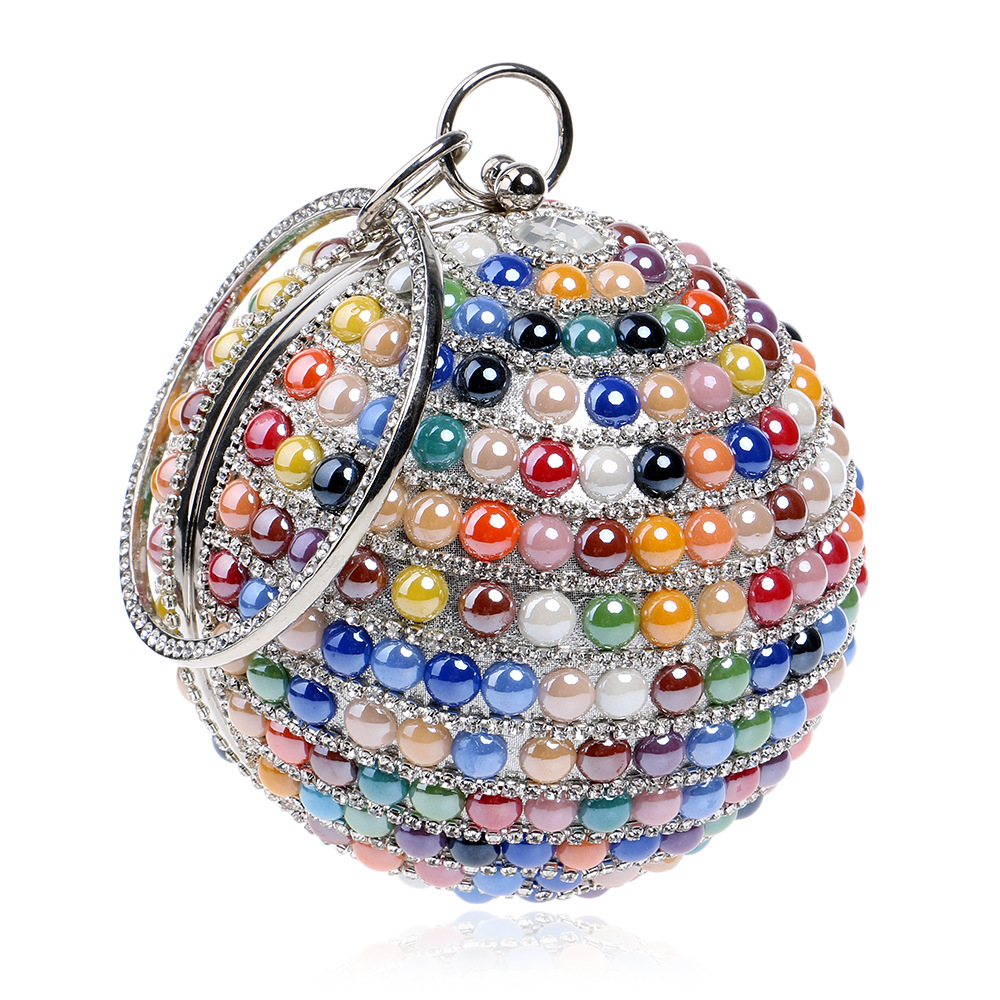 Women Evening Bags Ball Shaped Colorful Pearl Beading Chain Hand Bag Woman Mini Party Bag Clutches Purse For Wedding Dinner