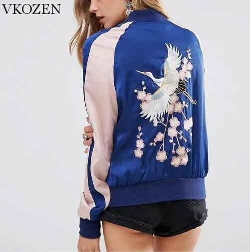 Novas Aves Bordado Floral Jaqueta Bomber Mulheres Contraste de Cor Casual Lady Plus Size Outono Primavera Zipper Casacos Chaquetas Mujer