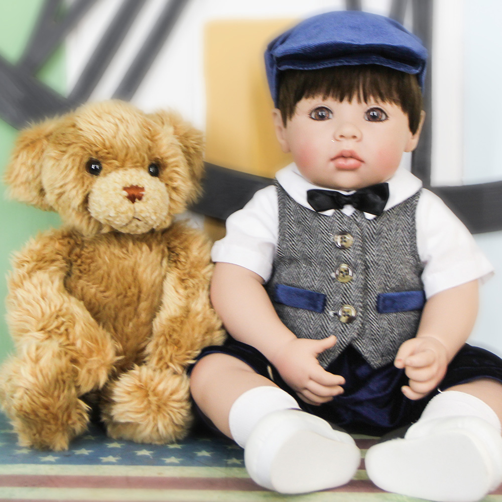 """20"""" Handsome Silicone Bebe Reborn Boy Lifelike 50cm Wear Hat Newborn Baby Toddler Dolls With Bear Plush Toy And Girl Growth Part"""