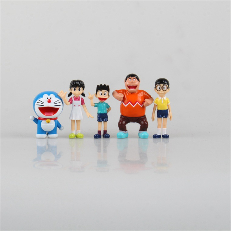 Cute Anime Cartoon Kawaii Doraemon Nobita Nobi Big G PVC Action Figure Collectible Model Toy Doll Kids Gift 6cm 5pcs/set ACAF008