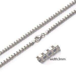 Image 3 - 7 サイズ使用可能な実純粋な 925 スターリングシルバーボックスチェーンネックレスレディースメンズジュエリーコリアー kolye collares オフホワイト ketting 3 ミリメートル