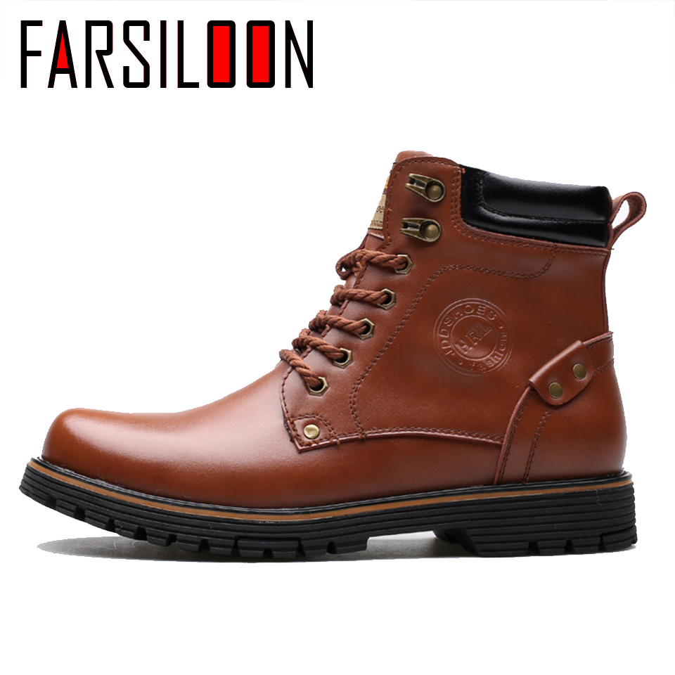 Men's Leather Warm Comfortable Waterproof Boots Men's Boots Round Head Boots Warm Lace Up Solid Rome Men Shoes JLL028 - 5