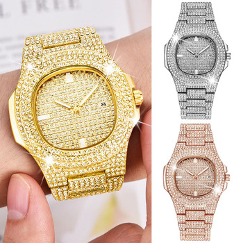 Montre Quartz Bling Or Hip Hop