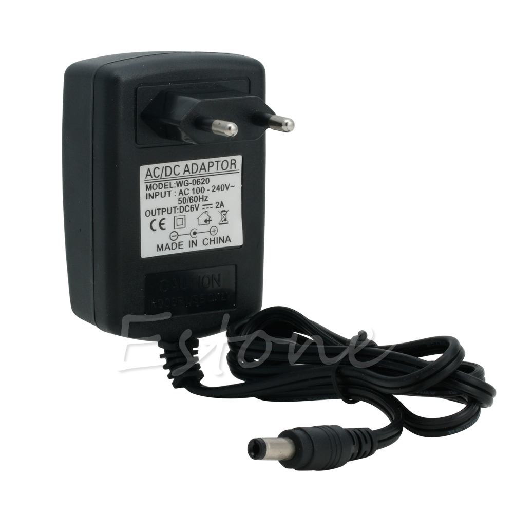 Converter 100-240V to DC 6V 2A Power Adapter Supply Charger EU Plug Black