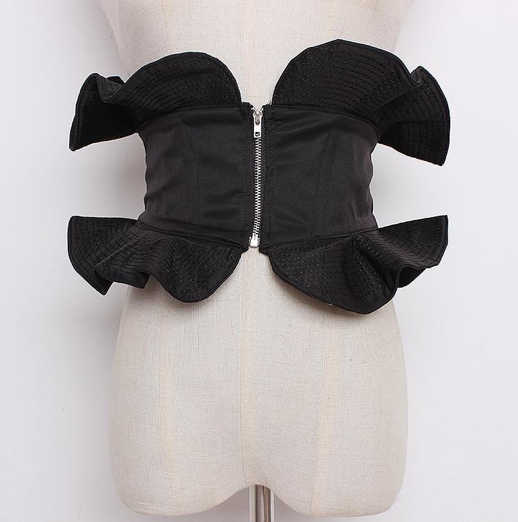 Women's Runway Fashion Ruffles Zipper Cummerbunds Female Vintage Dress Corsets Waistband Belts Decoration Wide Belt R1270