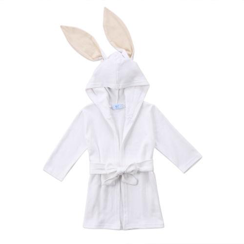 Boy Girl Animal Baby Robe White Rabbit Autumn Long Sleeve Long Ear Toddler Kids Hooded Bath Towel Bathing Honey Baby