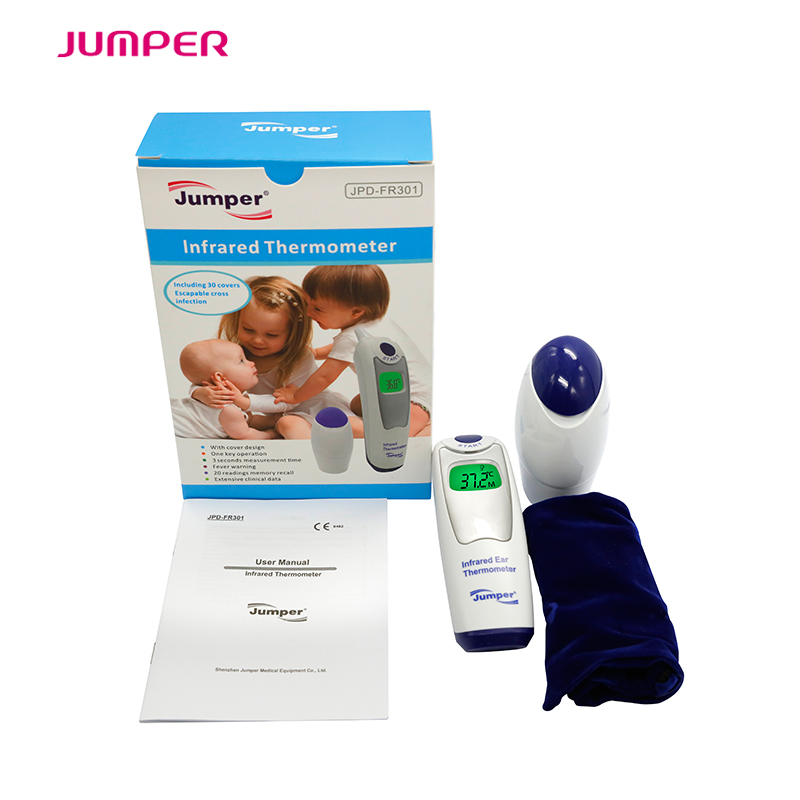 High accuracy Household health care Ear infrared clinical digital <font><b>thermometer</b></font> with probe covers,FDA&CE JPD-FR301 Temperature gun