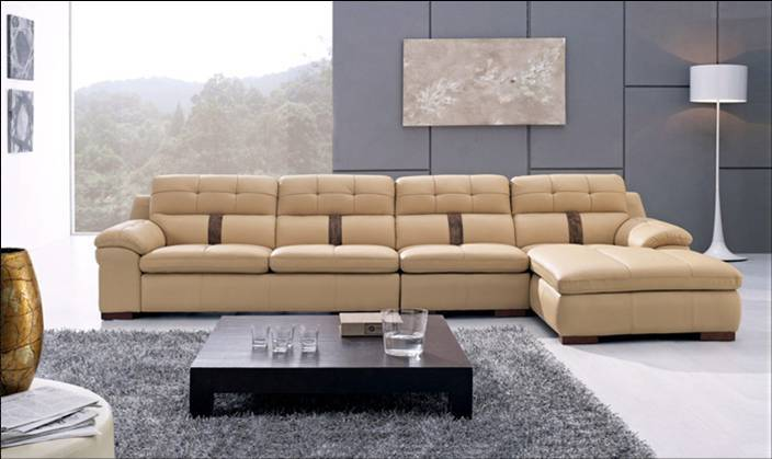 Free Shipping Modern Home Furniture 2013 Living Room Top Grain Leather L Shaped Corner Sectional Sofa Set L8033