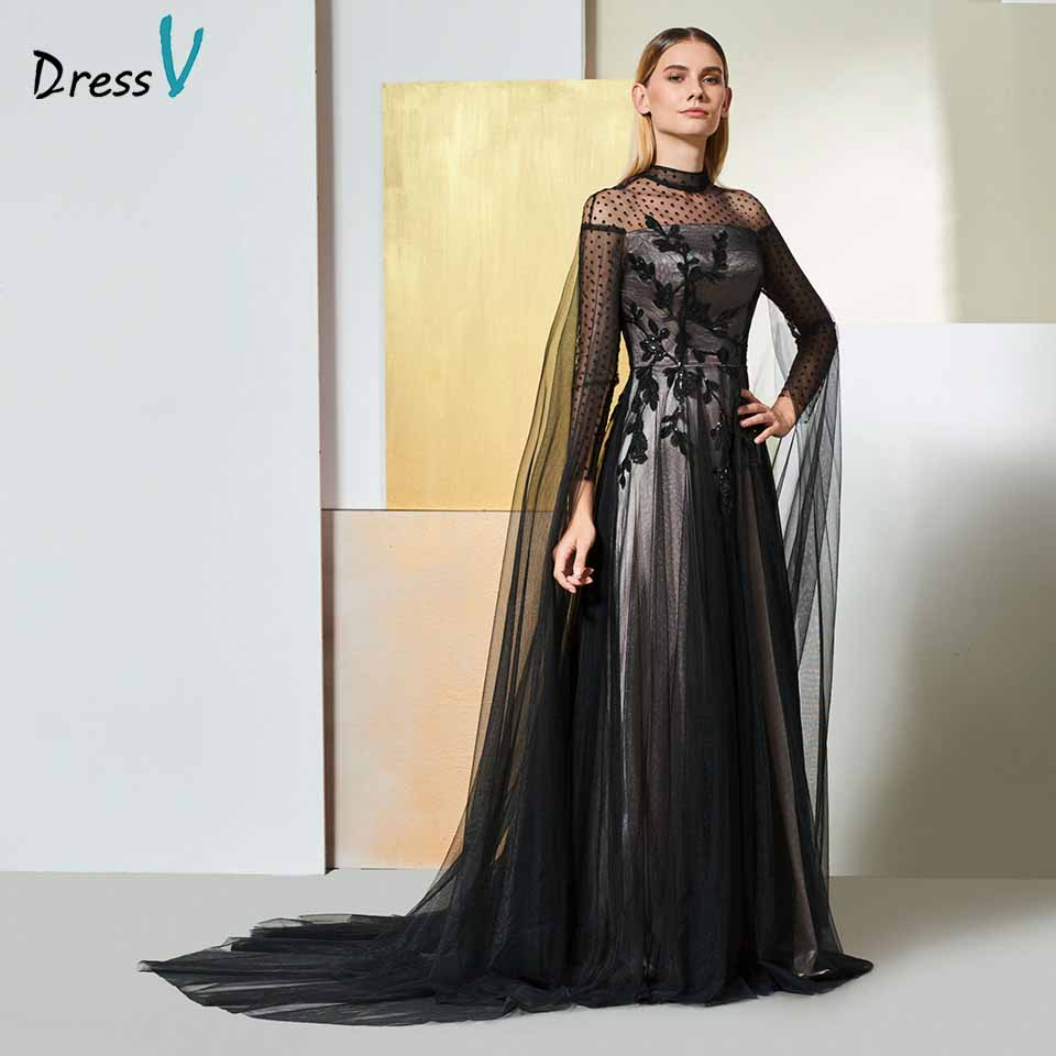 c56bc3fef33d5 US $115.86 47% OFF|Dressv black elegant high neck evening dress long  sleeves beading lace a line wedding party formal dress evening dresses-in  Evening ...