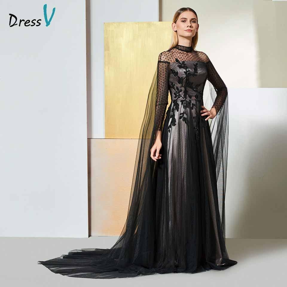Dressv Black Elegant High Neck Evening Dress Long Sleeves Beading Lace A Line Wedding Party Formal Dress Evening Dresses