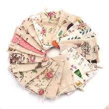 5pcs/lot Linen Cotton Bag 10x14 13x18 15x20cm Muslin Cosmetics Gifts Jewelry Packaging Bags Cute Drawstring Gift & Pouches