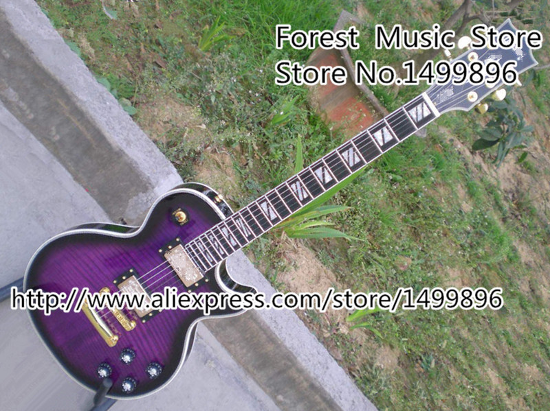Top Selling Chinese Custom Shop LP Custom Electric Guitarras Vintage Purple Tiger Grain Single Cut Guitars Body Lefty Available